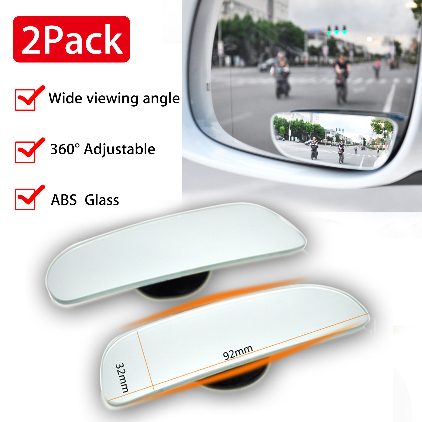 2pcs 360 176 Wide Angle Convex Rear Side View Universal Car