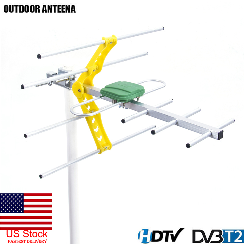 HDTV 1080p Outdoor Amplified Digital Antenna UHF VHF FM Long Range HD TV 15dB