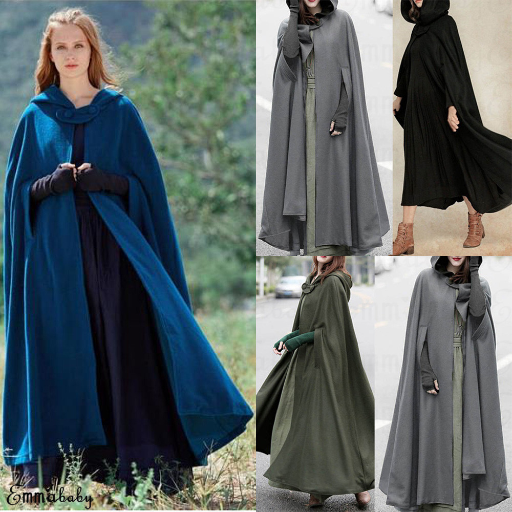 cf3ca0f2e Details about Women Warm Long Cloak Hooded Winter Cape Coat Poncho Shawl  Parka Outdoor Clothes