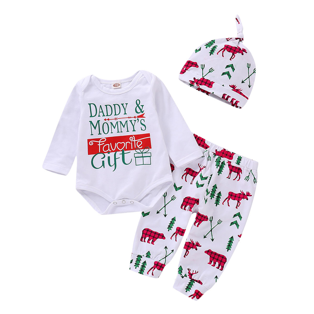 6c4264ed4206 Details about US Christmas Newborn Baby Boy Girl Tops Romper+Pants+Hat 3PCs Outfit  Pajamas Set