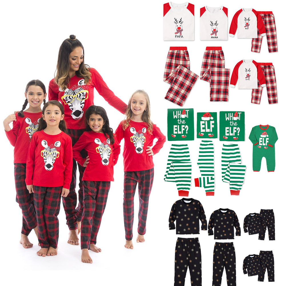 Details about Family Matching Christmas Pajamas PJs Sets Kids Mom Dad Xmas Sleepwear Nightwear