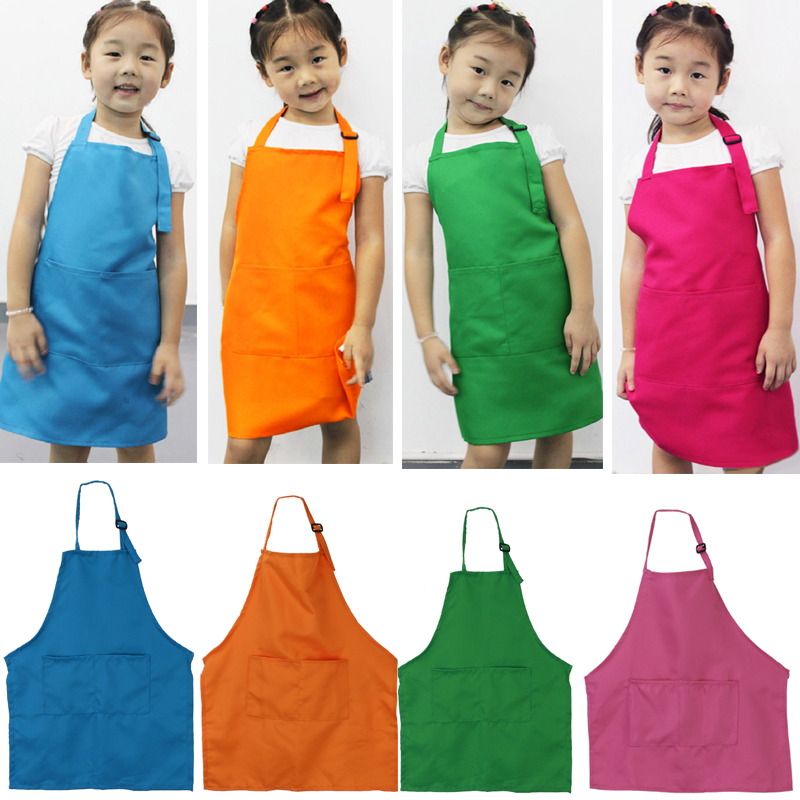 Cute Children Plain Apron Kids Kitchen Cooking Accessory Candy Color Child  Baking Apron Baby Painting Bib Womens Aprons White Aprons From ...
