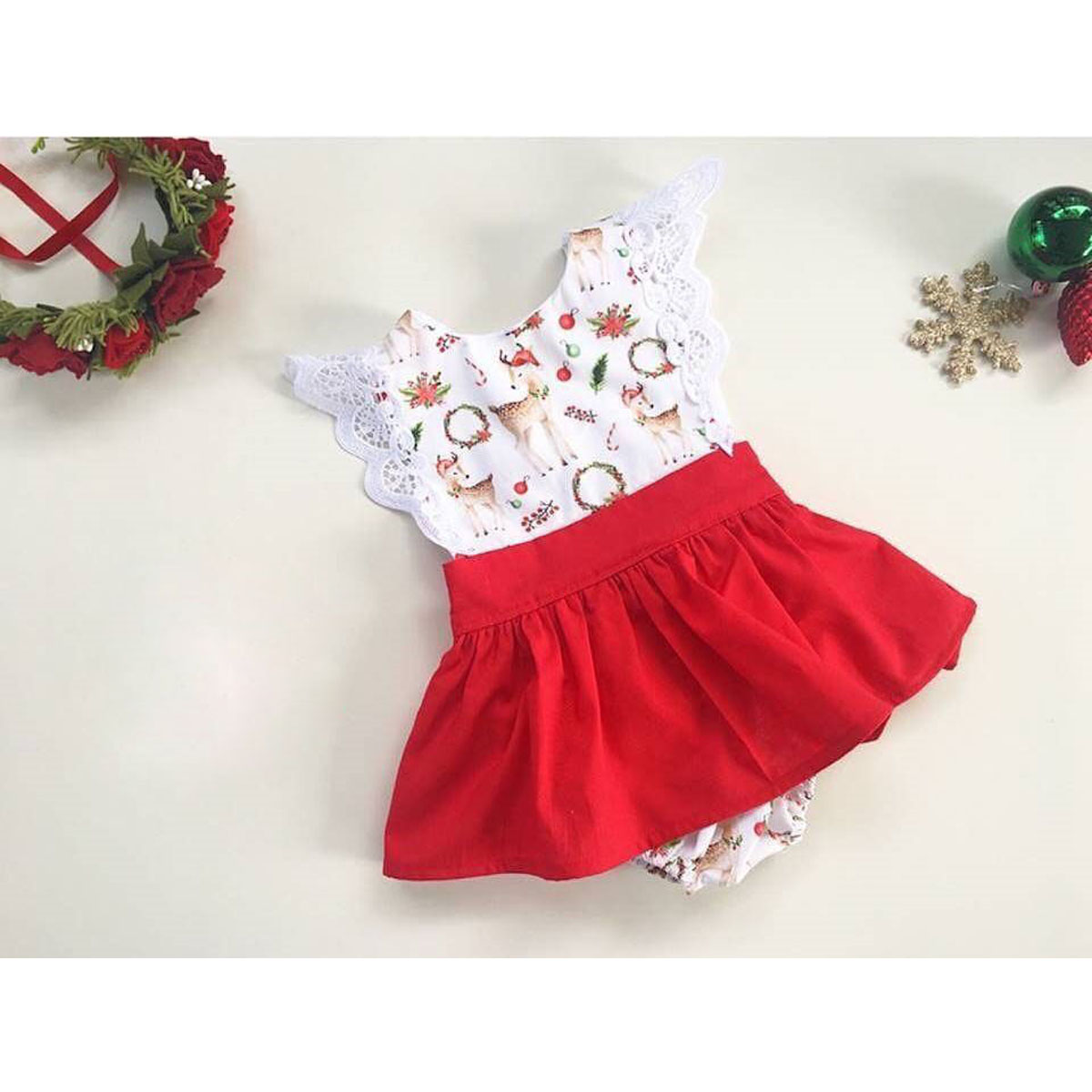 Kids X/'mas Newborn Baby Girl Romper Bodysuit+Pants Hairband Clothes Outfits Set