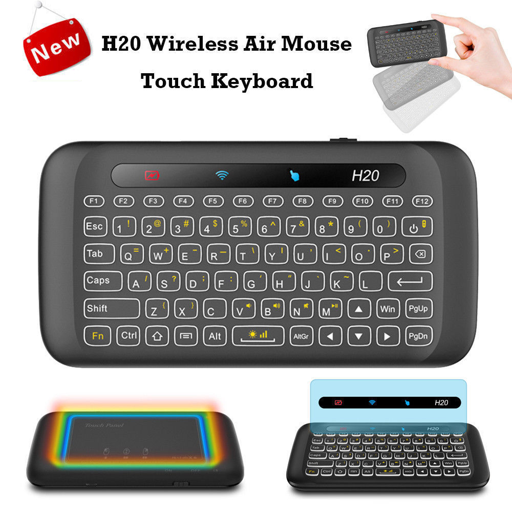 US H20 2.4GHz Wireless Keyboard USB Full Screen Touchpad with Backlight Function