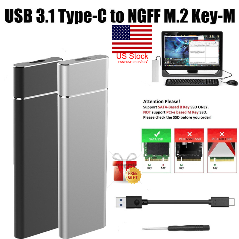 M.2 NGFF to USB 3.1 Type-C SATA SSD Converter Adapter Enclosure Case Box 10Gbps