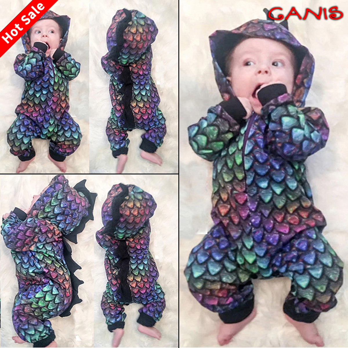 337b4cd40 Baby & Toddler Clothing US Kids Toddler Baby Girls Boys Dinosaur Romper  Jumpsuit Bodysuit Outfit Clothes