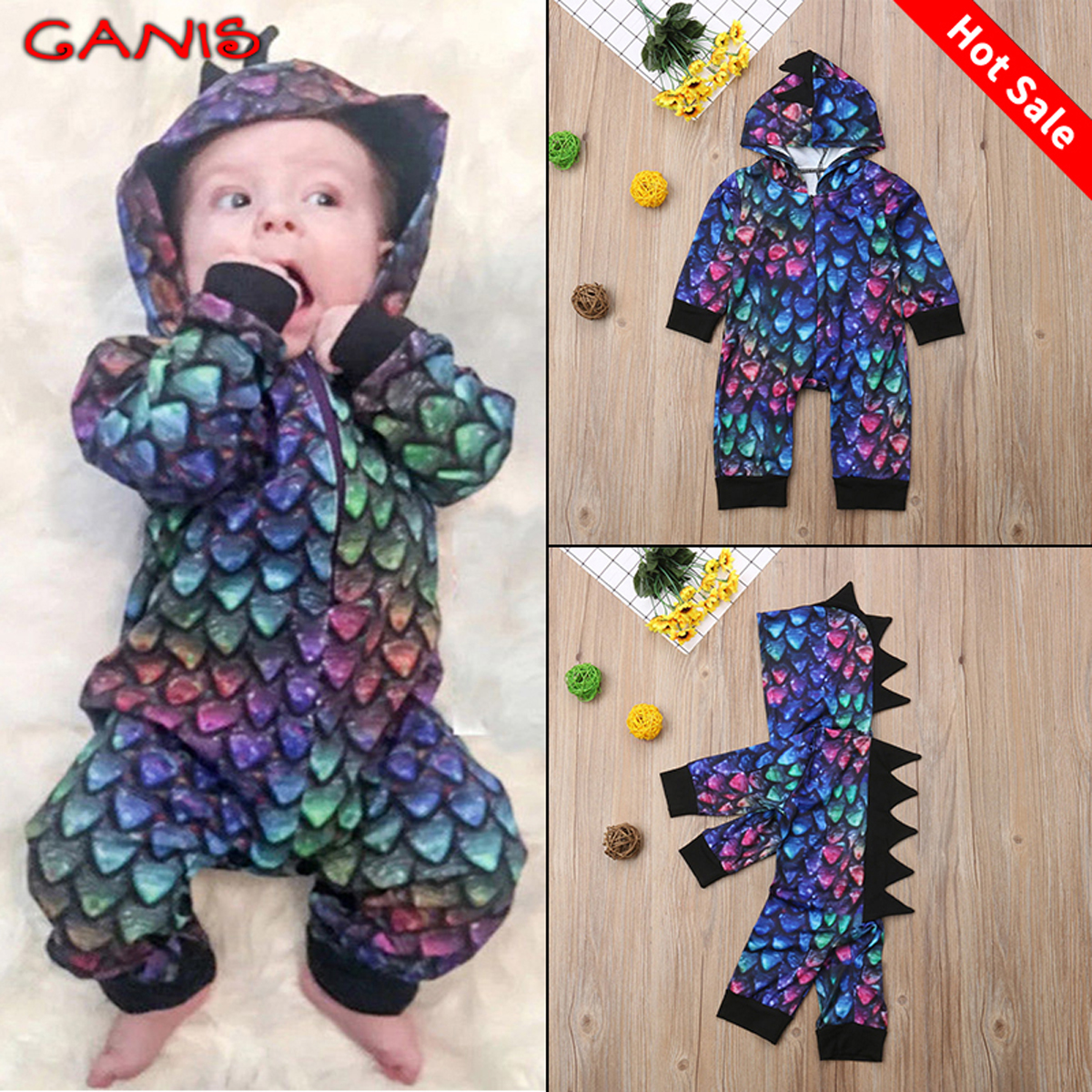 cdee32364 Details about USA Stock Newborn Baby Boy Girl Romper Hoodies Jumpsuit  Bodysuit Outfits Clothes