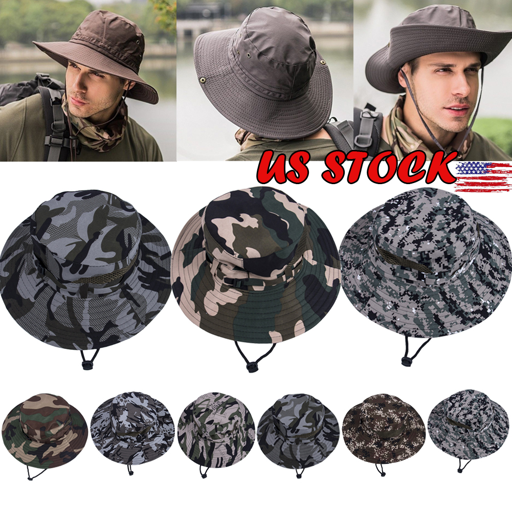 c03fb5678ee Details about US Bucket Hat Boonie Hunting Outdoor Wide Brim Camo Sun Men Cap  Military Fishing