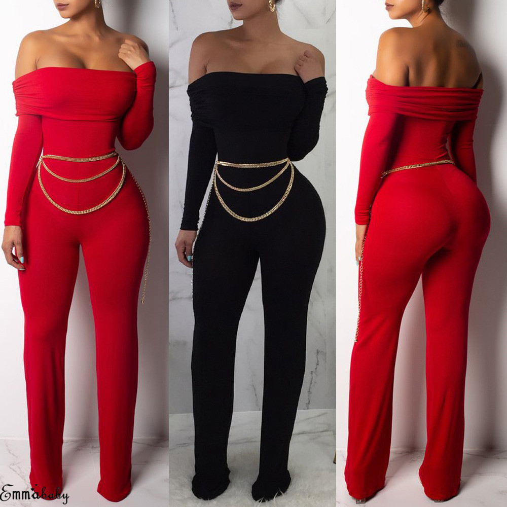 3337725f3bc Details about Sexy Womens Off Shoulder Playsuit Bodycon Skinny Jumpsuit  Romper Casual Clubwear