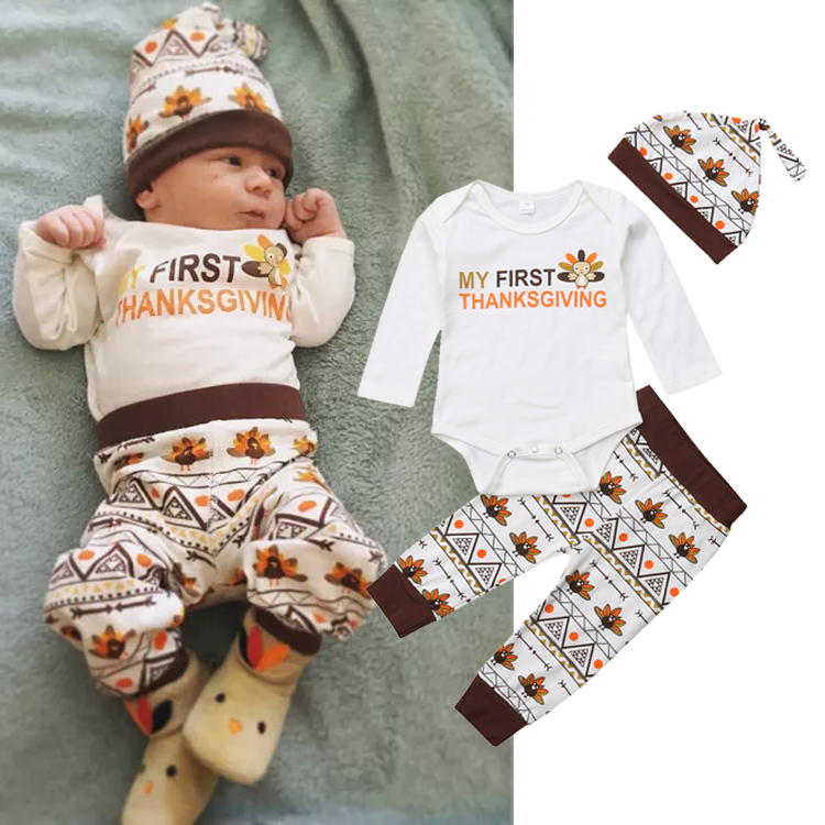 b0a56971911 Details about USA Turkey Thanksgiving Infant Baby Boy Girl Romper Pants Hat  Clothes Outfit Set