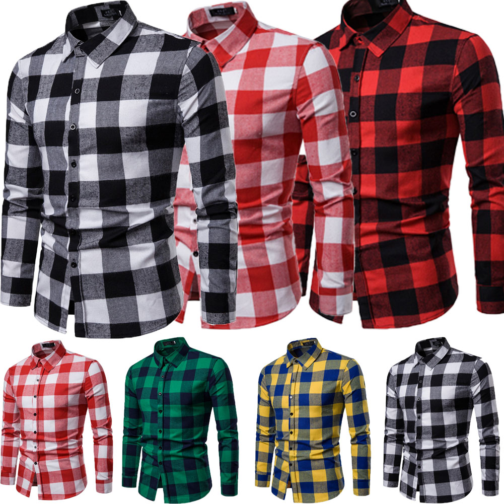 66028efe New Mens Casual Plaid Comfort Flannel Long Sleeve Fit Cotton Check ...
