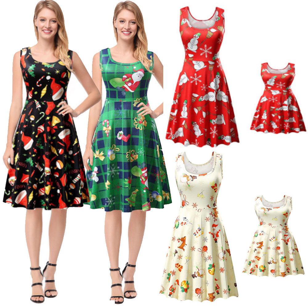 Details about Family Matching Christmas Dress Women Girl Casual Mother  Daughter Dress Set