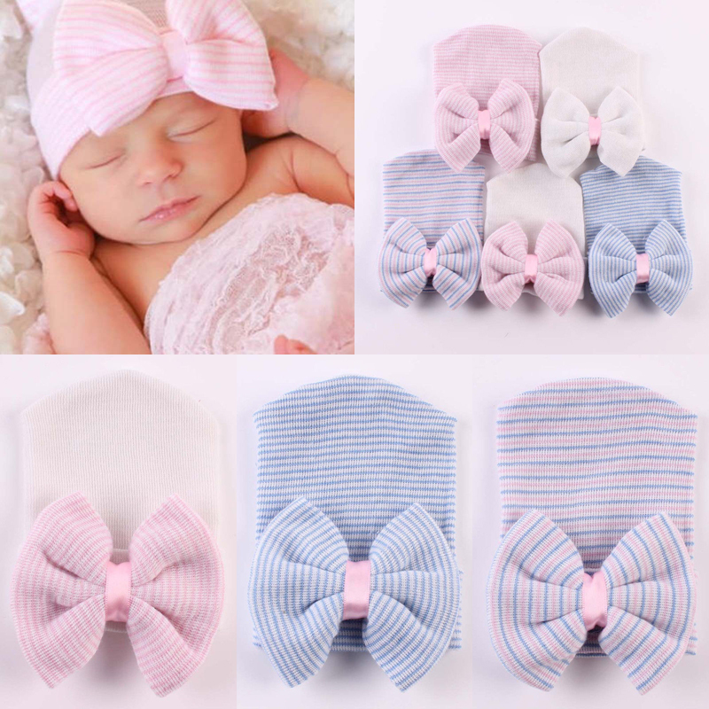 a909a4d7 Details about 2019 Cute Baby Girls Infant Striped Cap Hospital Newborn Soft Bow  Beanie Hat