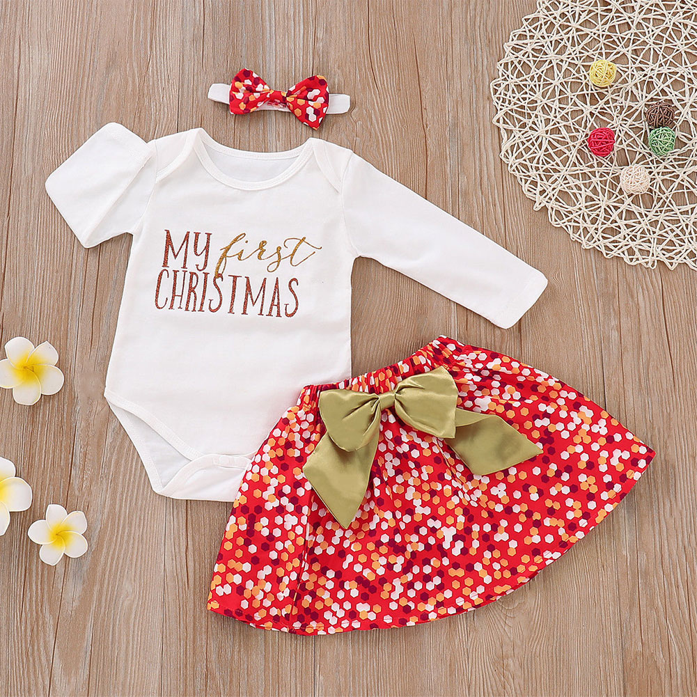 339c20b558b Details about My First Christmas Romper Santa Skirt Outfits Xmas Dress 3pcs  Set for Girl Baby