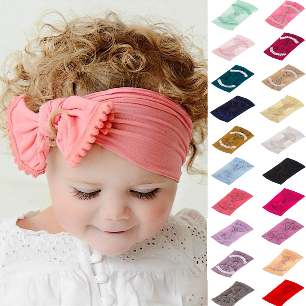 New Soft Baby// Girls Kids Toddler Bow Hairband Headband Turban Head-Wrap Hot