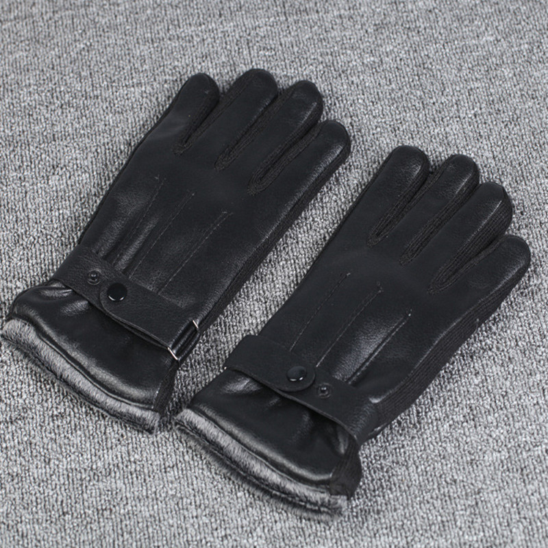 Details about Men's Warm PU Leather Finger Hand Gloves Driving Phone Touch Screen Winter CA