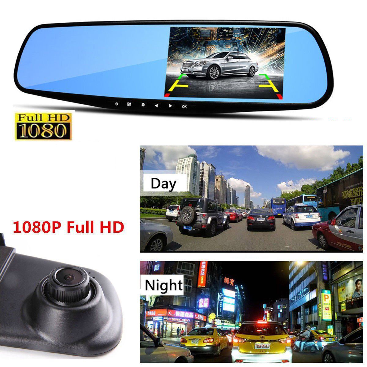JPEG Full HD 1080P 3.5 Video Recorder Dash Cam Rearview Mirror Car Camera DVR US