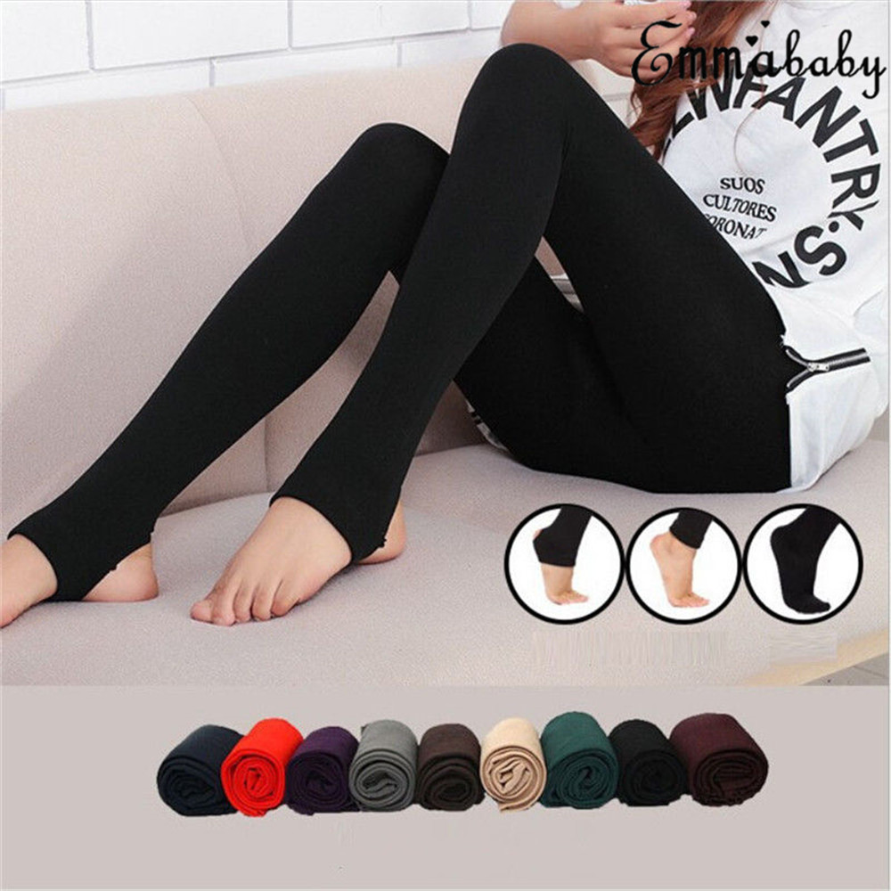 f9801bf97eccb Details about Women s Fleece Lined Solid Colors Winter Thick Warm Thermal  Stretchy Leggings UK