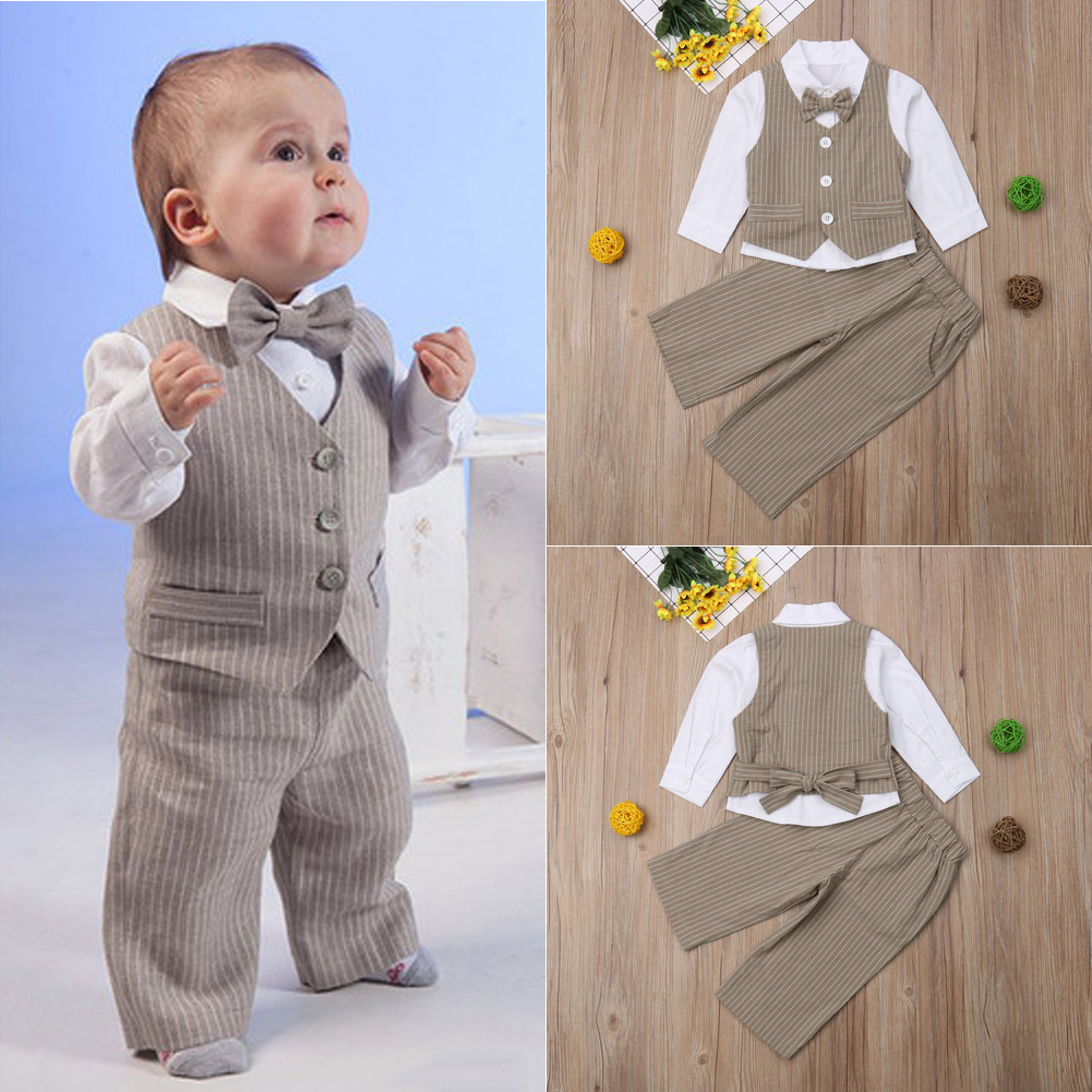 5ab4778a9 US 1 set Baby clothes kids boys wedding party suit top+pants tuxedo ...