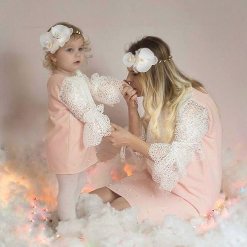 b571e9d23a Family Matching Outfits Mother and Daughter Clothes Women Kids Girls Lace  Dress
