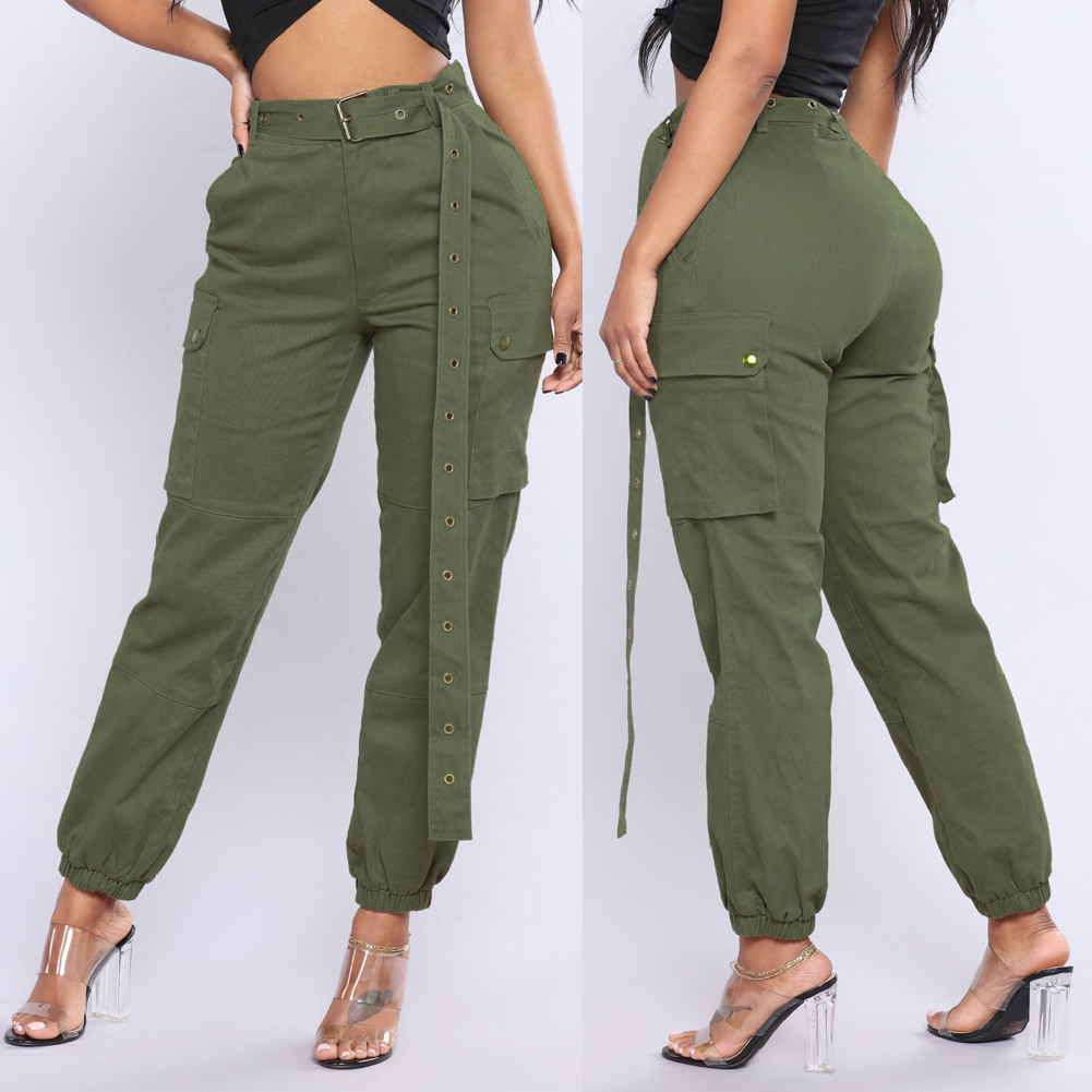 dcb8eae608f64 US Womens Camo Cargo Trousers Casual Pants Military Army Combat ...