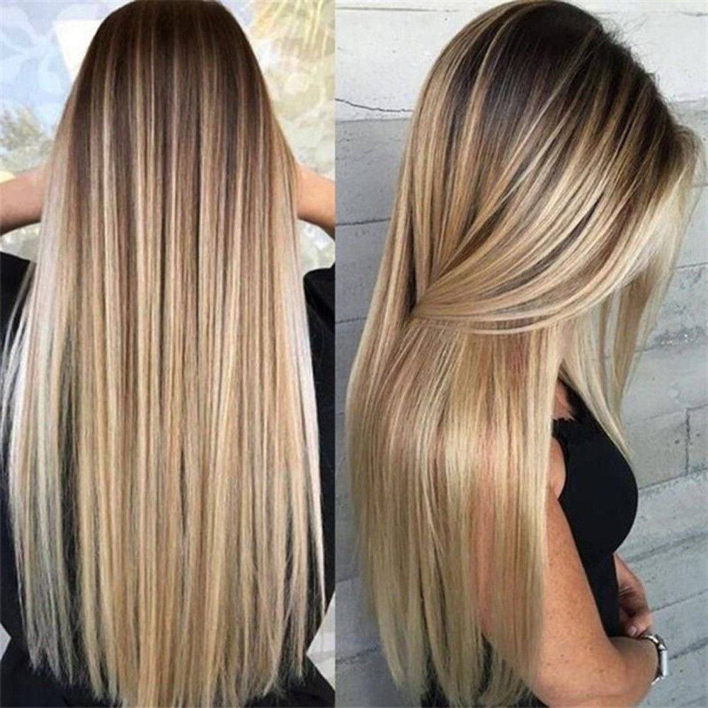 Synthetic Long Straight Hair Ombre Blonde Wig Heat