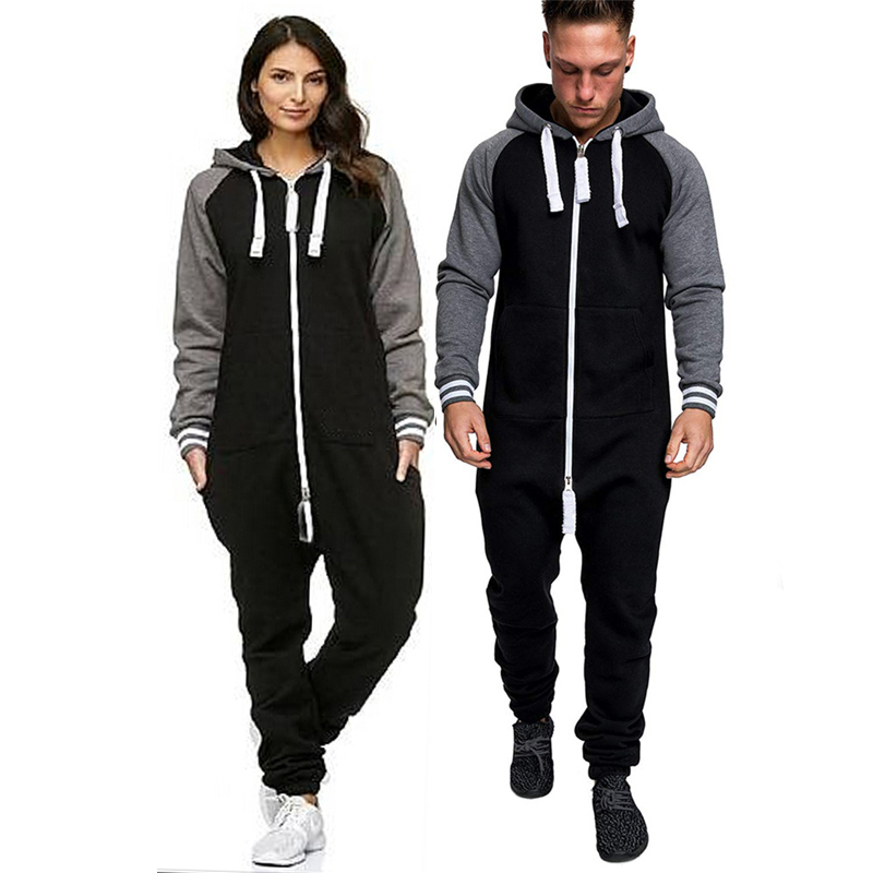 12255fd730 Details about New Men Women Ladies Adult Onesi0 Hooded Playsuit Jumpsuit  All In One Tracksuit