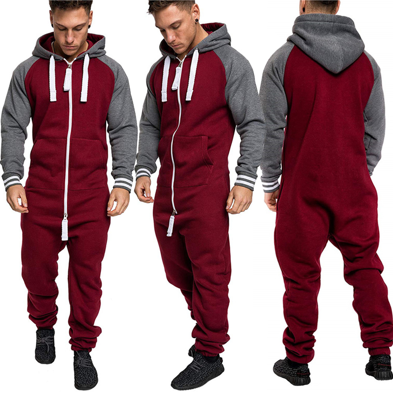 e0e2343fdc US Men Women Ladies Adult Onesi0 Hooded Playsuit Jumpsuit All In One ...