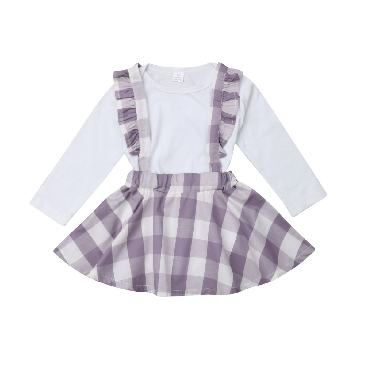 fb123c091 Details about UK 2Pcs Newborn Baby Girls Romper Plaids Overall Skirt  Suspenders Dress Outfits