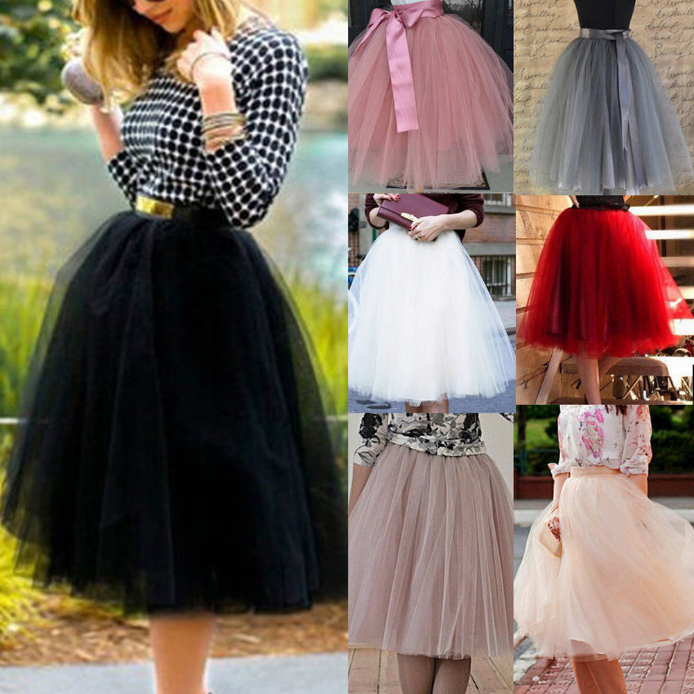 414c0cd510 7 Layers Women A Line Tulle Tutu Skirt Party Princess Ballet Dress ...