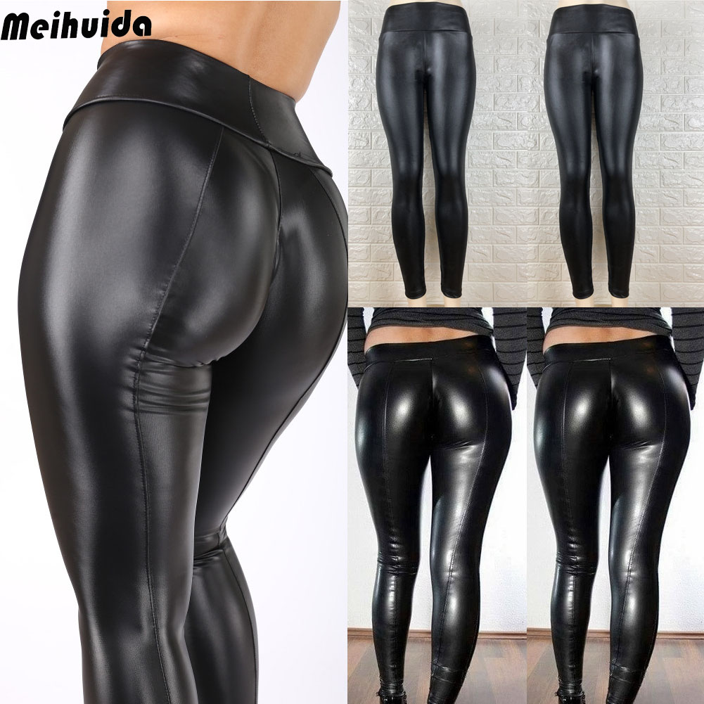 Damen Hohe Taille Lack-Optik PVC Leder PU Stretch-Leggings Schmal Stift Hosen