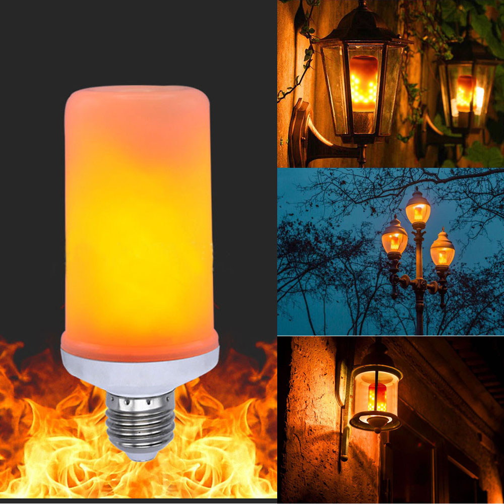 Flicker Fire Decor Effect Led Warm Light Simulated About Details Lamp Flame Bulb E27 White HYD29WEI