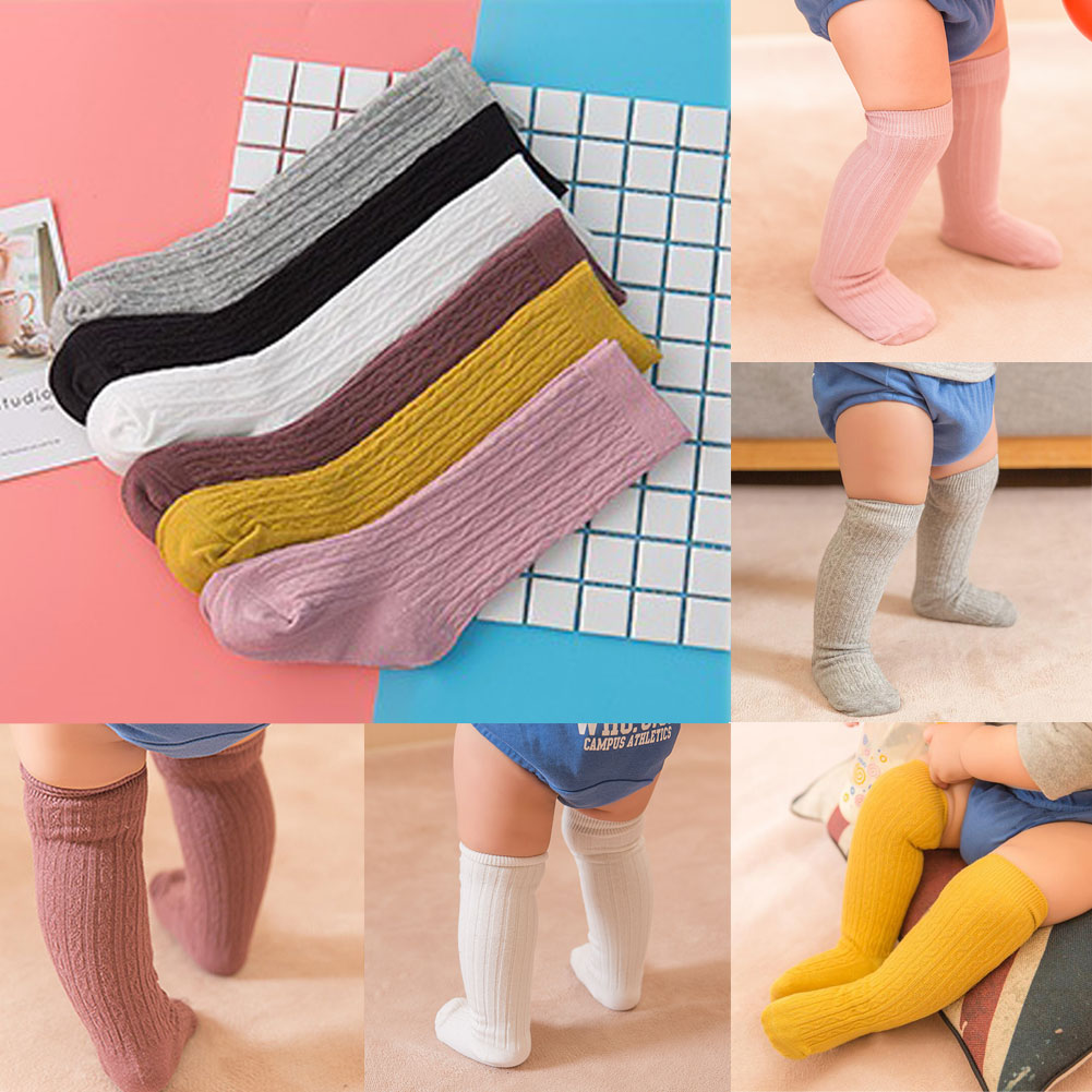 36a95cf03bcdf UK Newborn Toddlers knees high sock baby Girl/Boy Solid Long Socks ...