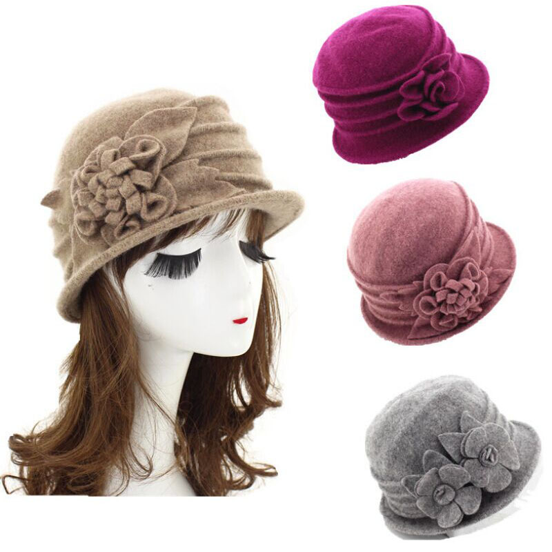 84f1a2a3f37 Details about Womens 1920s Style Look 100% Wool Beret Beanie Cloche Bucket  Winter Hat Beanie