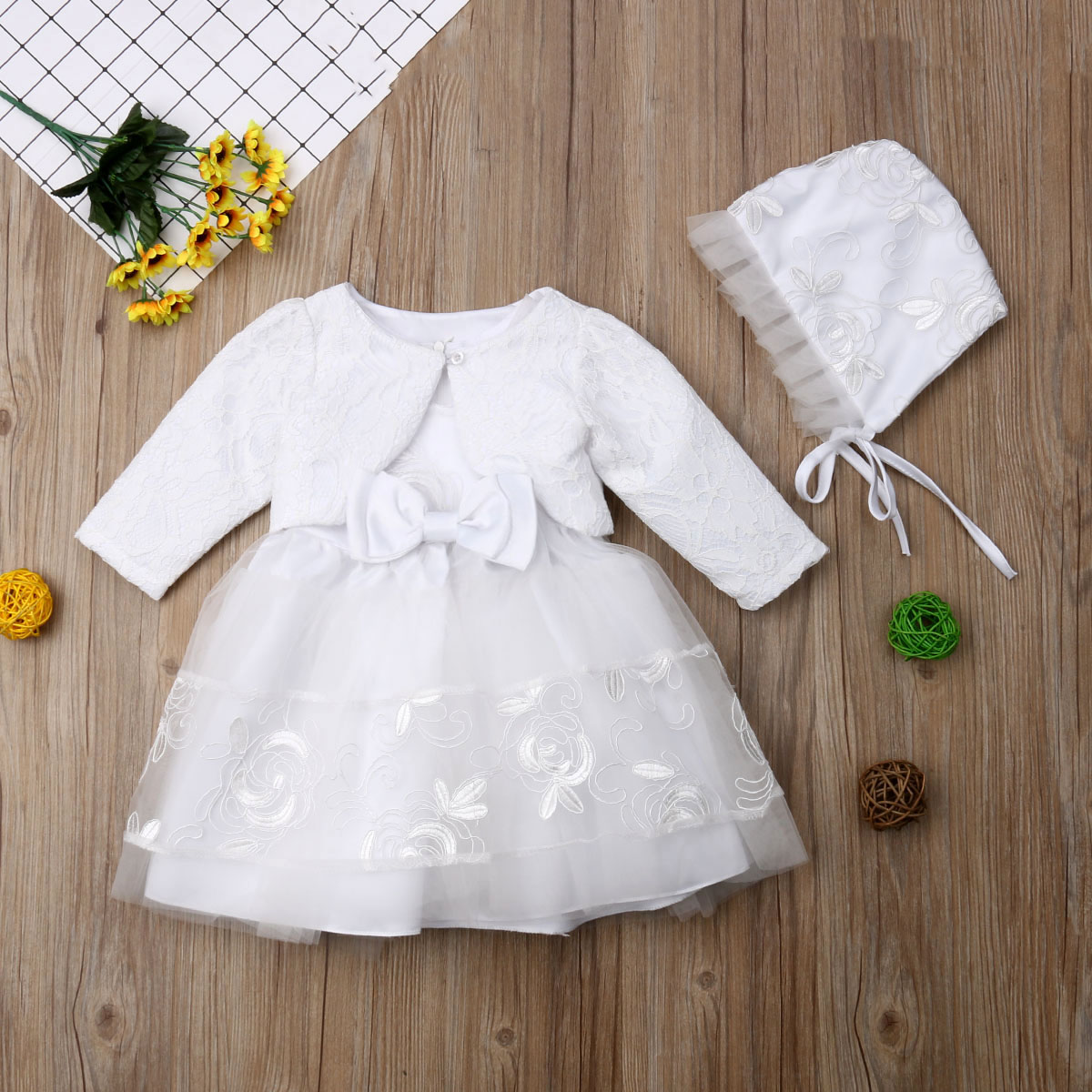 New Lace Baptism Flower Baby Girls Dress Christening Wedding Party Kids Clothes
