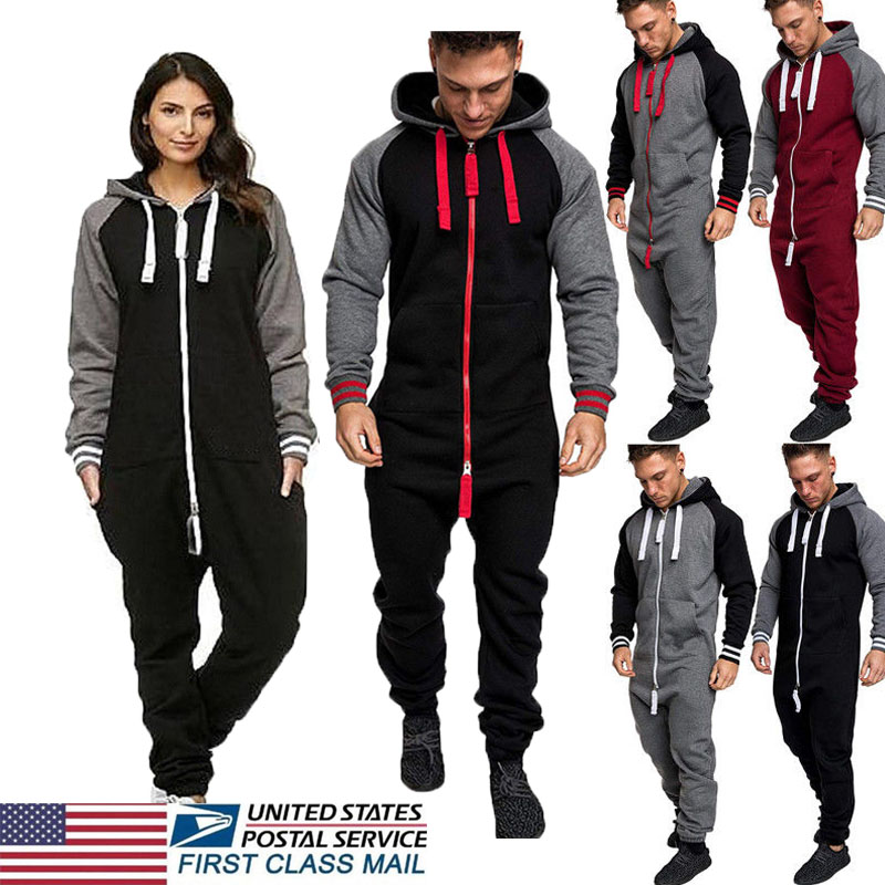 8d8a3d5794 New Men Women Ladies Adult Onesi0 Hooded Playsuit Jumpsuit All In ...