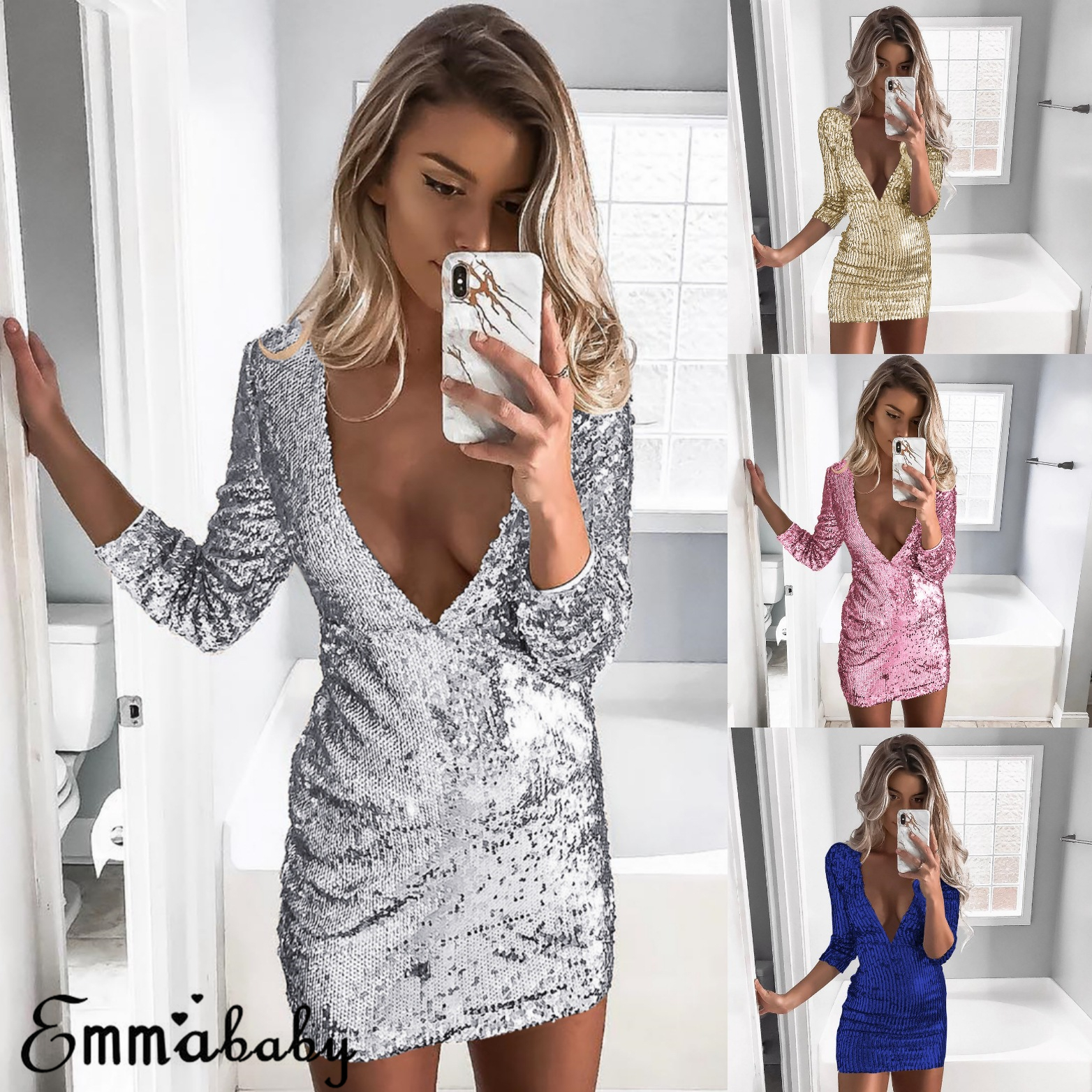 32c22b257ffe Details about Women Sequin Glitter V-neck Long Sleeve Bodycon V-Neck  Cocktail Party Club Dress