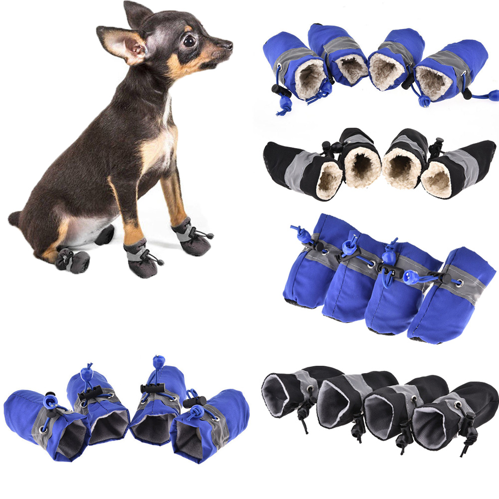 Details about 4Pcs Winter Waterproof Pet Dog Shoes Anti-slip Snow Boot  Puppy Dog Socks Booties 290fab385bb4