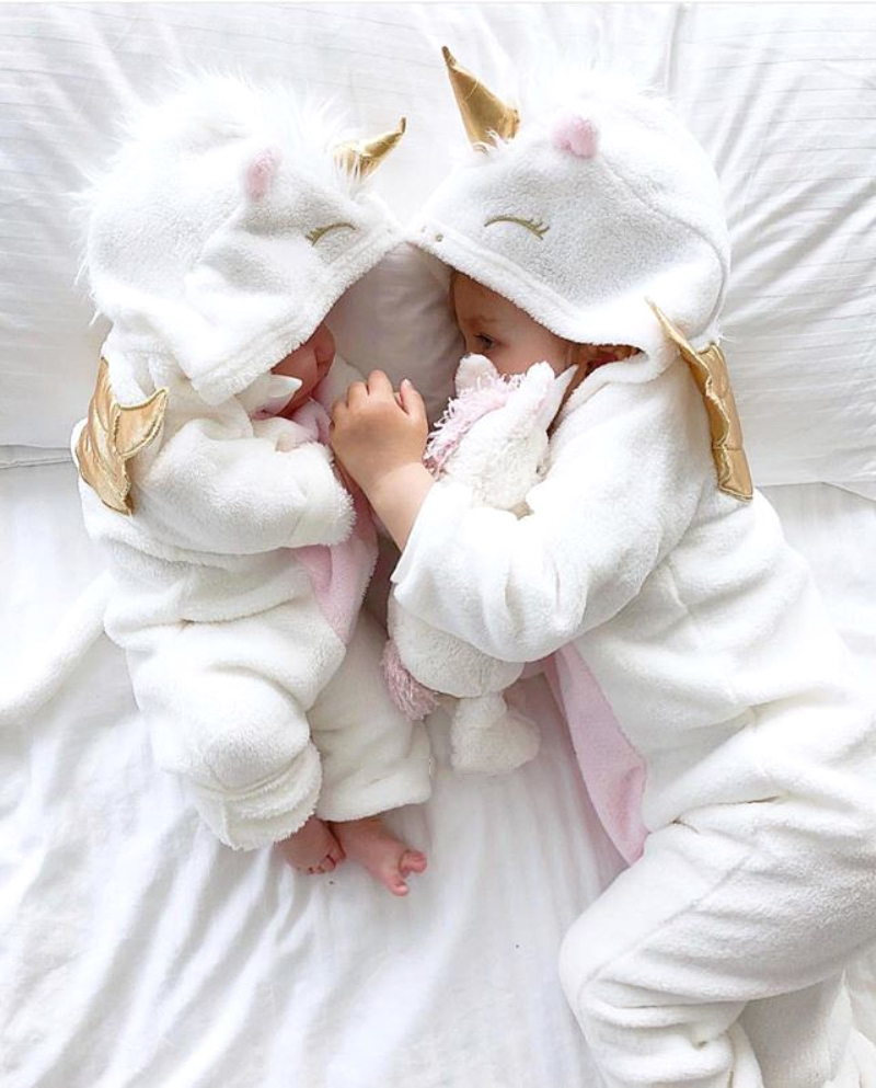 Newborn Baby Girls Unicorn Angel Romper Jumpsuit Hooded Outfits Warm Clothes