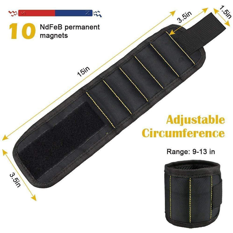 Strong Magnetic Wristband Holding Screws, Nails, Drill Bits for Men DIY Handyman