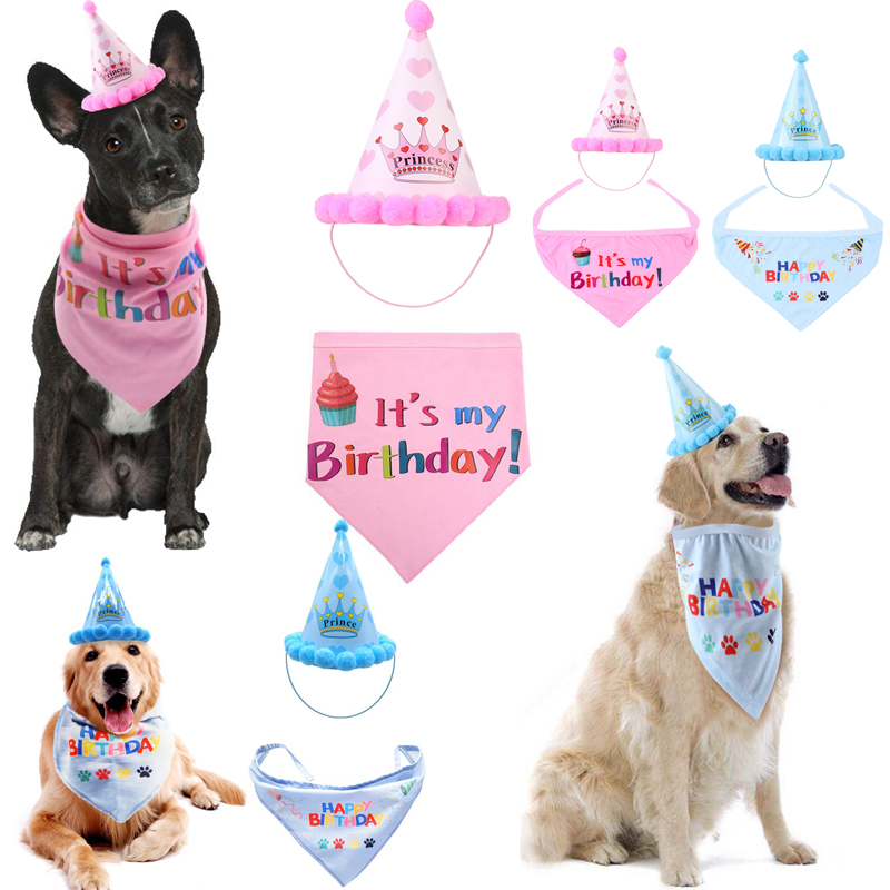 US Birthday Hat Scarf For Dog Cat Puppy Party Costumes Pets Headwear