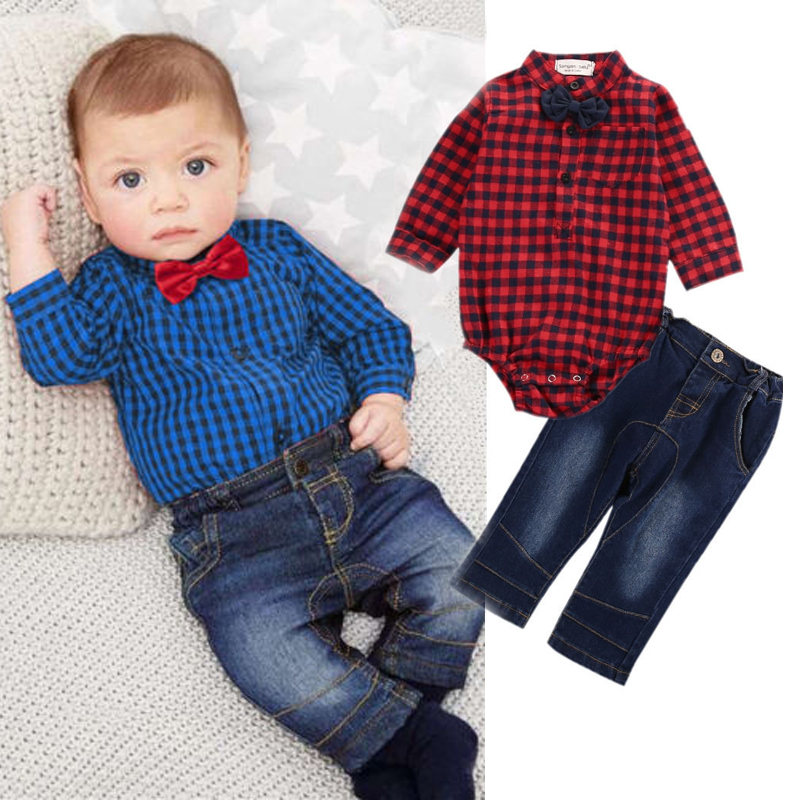 b9af23412228 US Newborn Baby Boy Clothes Plaid Romper Bodysuit Tops+Jean Pant ...