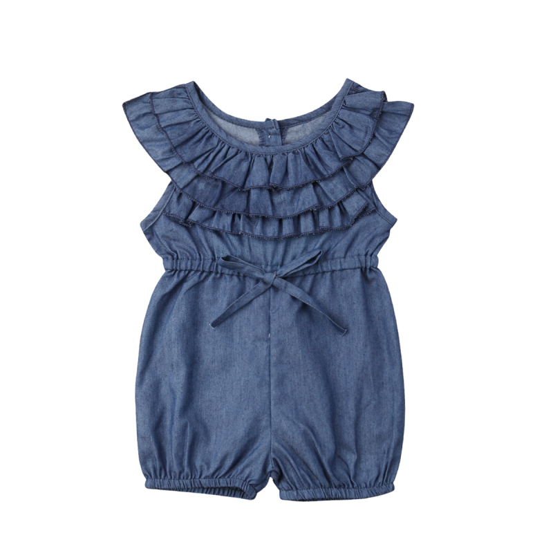 a5f6a3297 Details about Toddler Kids Baby Girl Princess Ruffle Denim Romper Jumpsuit  Outfits Clothes USA