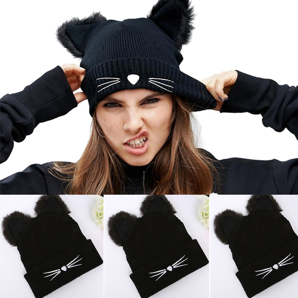 a2fc41a717f Details about Cat Ears Women Ladies Knitted Hat Acrylic Warm Winter Beanie  Crochet Fur Ski Cap