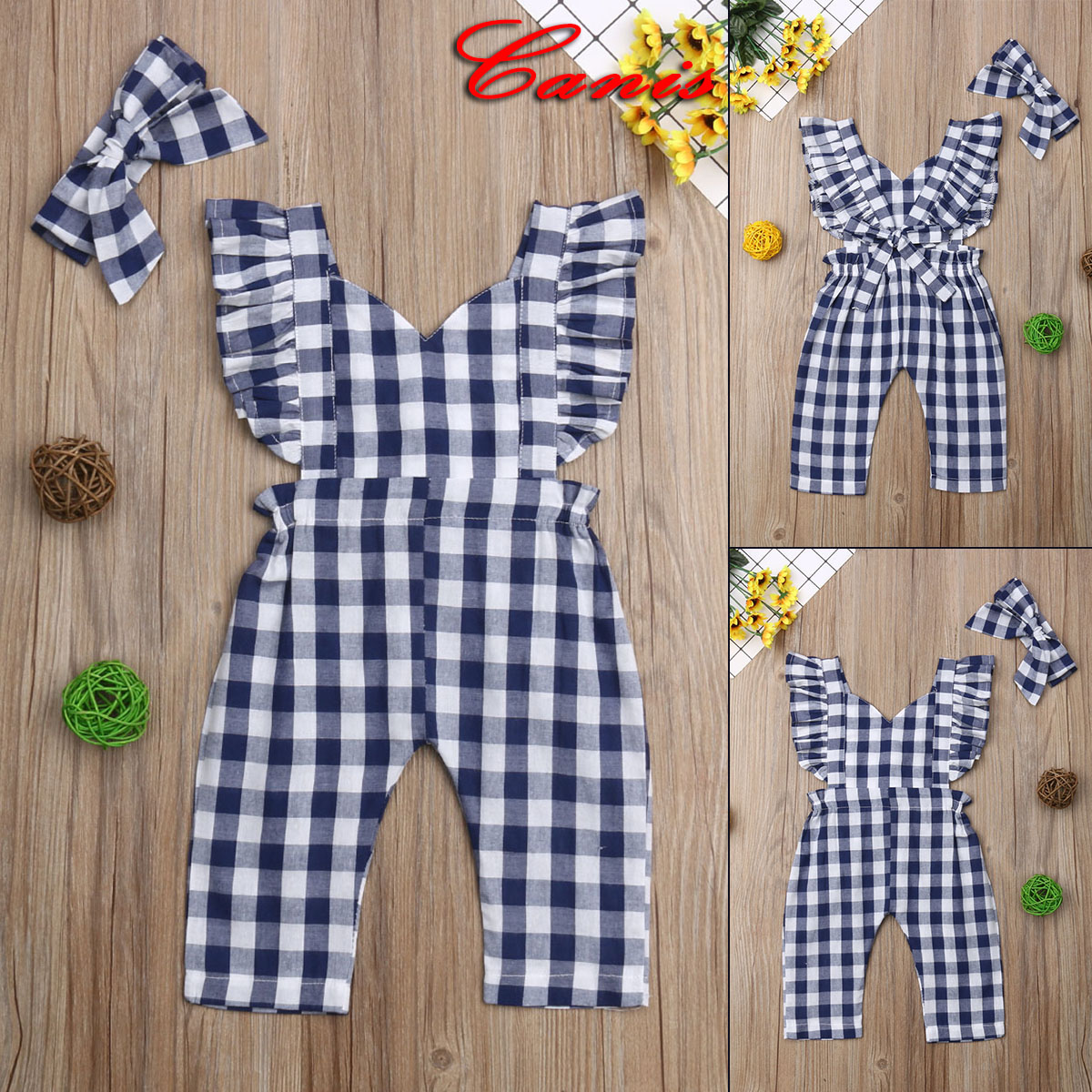 Kids Baby Girls Plaids Bib Pants Romper Jumpsuit Overalls Outfits Clothes 0-3t 100% High Quality Materials Girls' Clothing (newborn-5t) Baby & Toddler Clothing