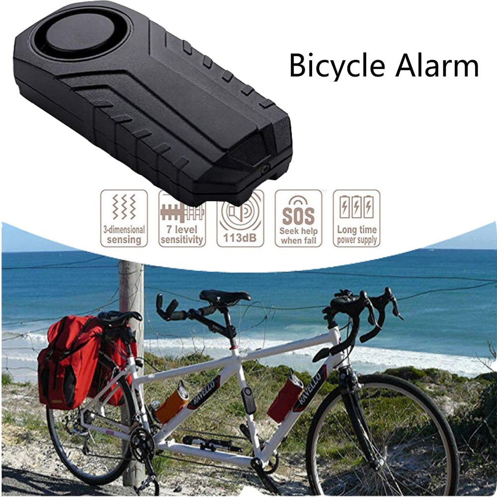 113 dB Super Loud Security Anti-Theft Alarm with Remote Control IP55 Waterproof Mengshen Wireless Motorcycle Bicycle Alarm Black