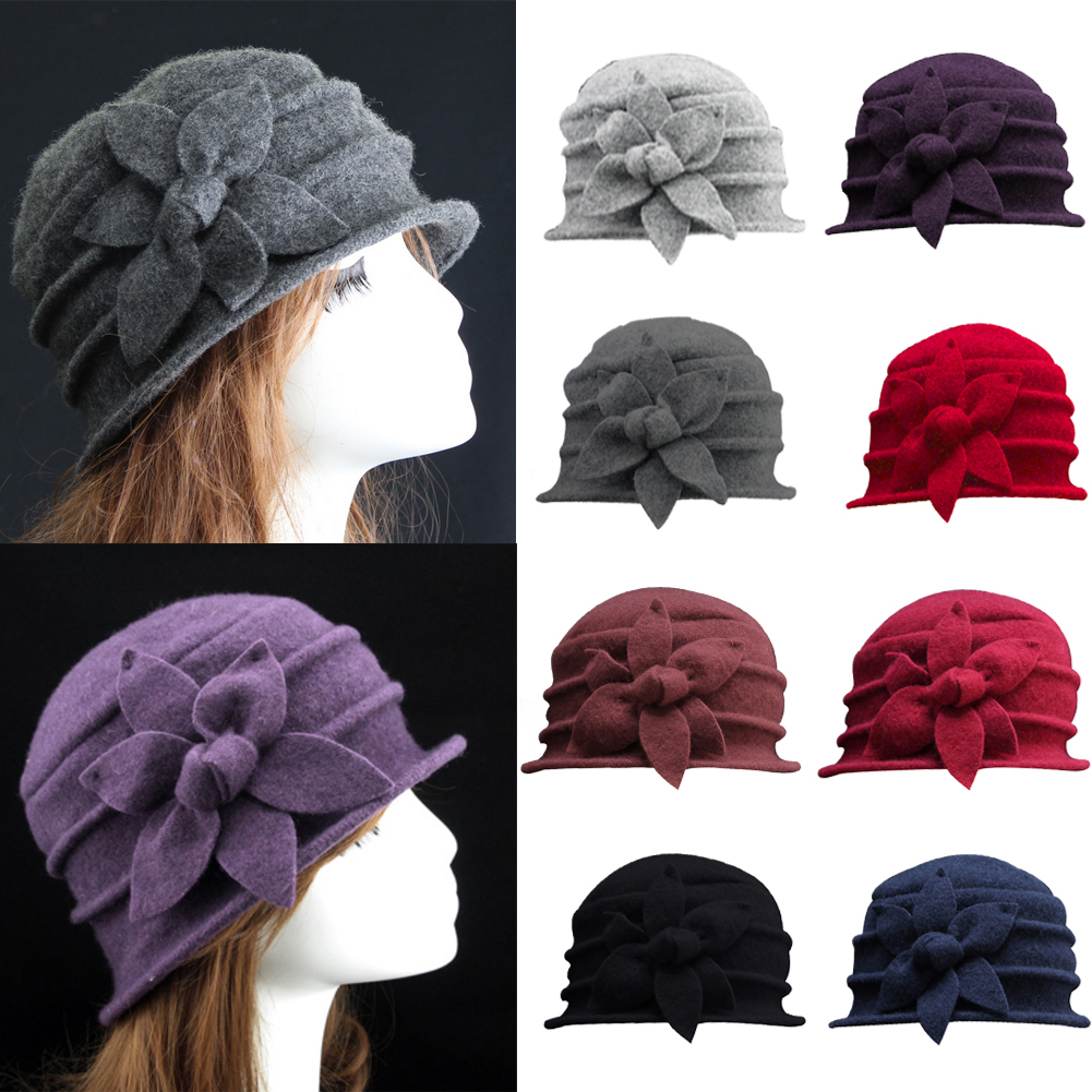 b05290cca54 Details about Women s Ladies Winter Vintage Elegant Wool Flower Felt Hat  Cloche Bucket Cap