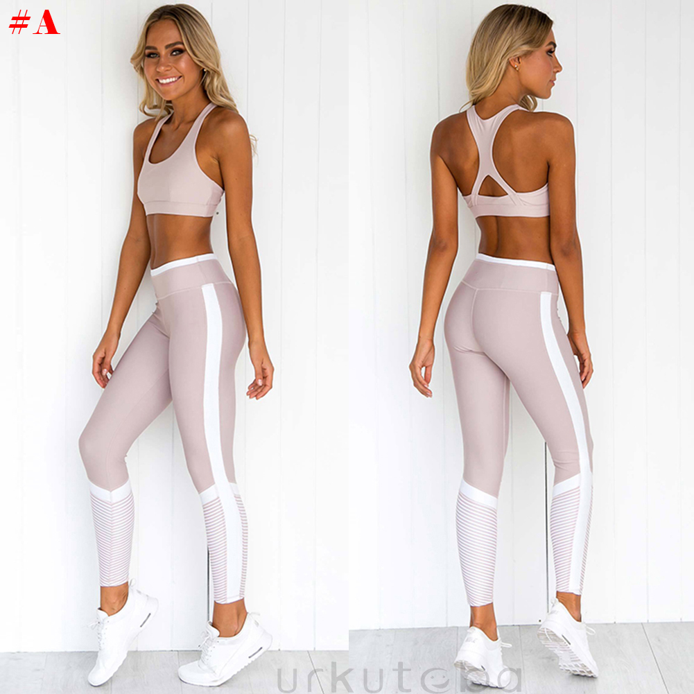 d1e6d8eeb6 Details about Women s Sports Gym Yoga Running Fitness Leggings Athletic  Clothes Bra+Pants Sets