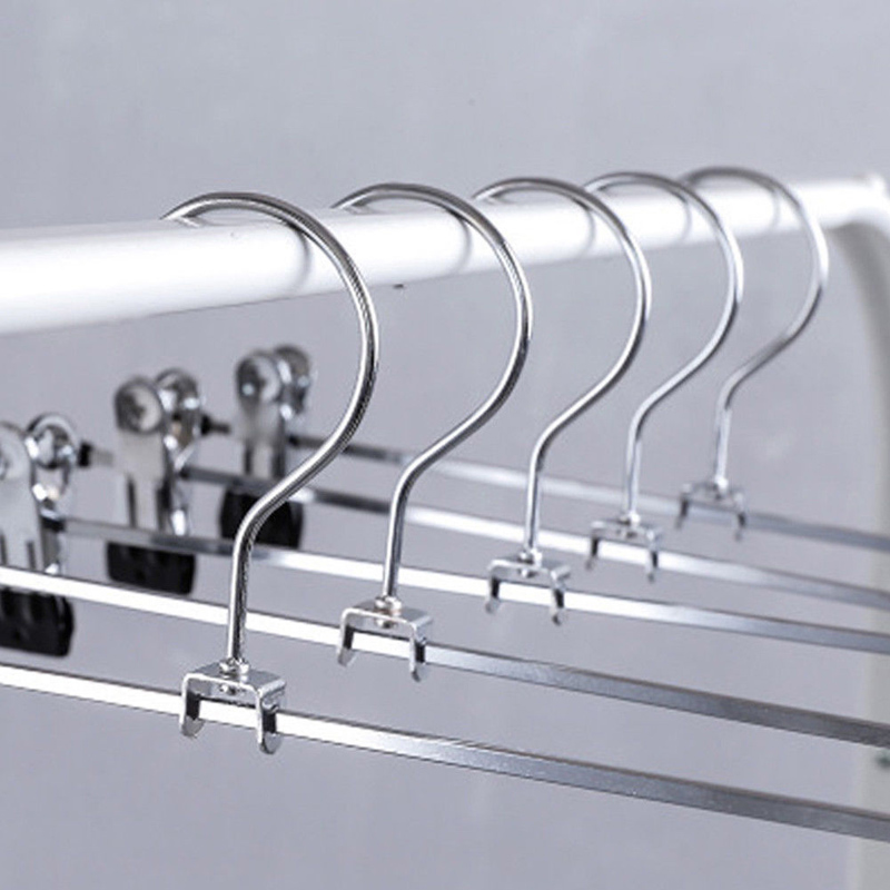 10 PCS Stainless Steel Pants Skirt Hangers Trouser Stand Holder W// 2 Clips Home