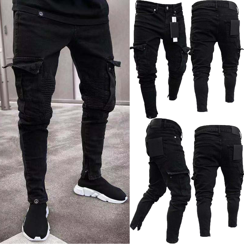 862184292dcc Details about Men Black Skinny Jeans Pants Destroyed Stretchy Biker Ripped  Long Denim Trousers